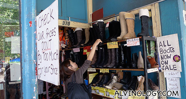 Store selling shoes and boots at bargain prices