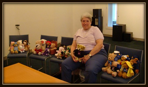 My Teddy Bears and stuffies from the trip to UK sit with me.