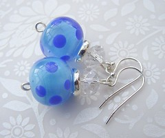 Dotty For Spots in Blue (6) (Glittering Prize - Trudi) Tags: blue glass beads crystal handmade jewellery sparkle spots earrings lampwork dotty polkas