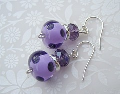 Dotty for Purple Spots (1) (Glittering Prize - Trudi) Tags: glass beads purple crystal handmade jewellery sparkle spots earrings lampwork dotty polkas