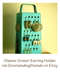 cheese grater earring holder
