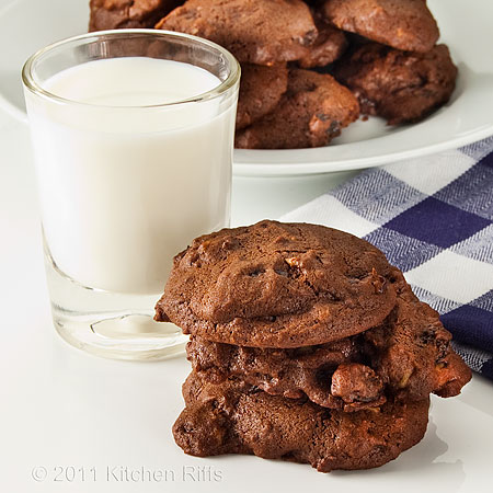 Chocolate drop cookies with milk