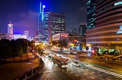 Shanghai Nights (Storkholm Photography) Tags: china city nightphotography cars skyline architecture night nikon neon skyscrapers shanghai traffic tokina  buss nanjingroad peoplesrepublicofchina peoplessquare hangpu  d90      tokina1116