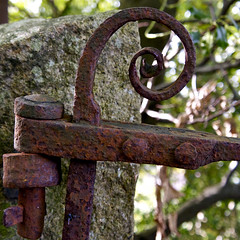 Spiral & Hinge (Petur) Tags: hinge woman green rot abandoned rotting stone rural square spiral gate iron rivets bokeh decay rusty granite weathered crusty corrosion corroded deadfly bsquare ubej