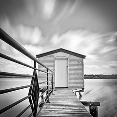 Boathouse #3 (Matthew Post) Tags: ocean longexposure blackandwhite motion water clouds river pier welding jetty australia queensland boathouse maroochydore weldingglass maroochyriver weldingglassfilter