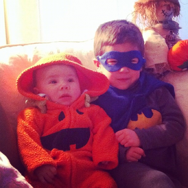 Batman and his sidekick…the pumpkin?