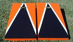 Orange & Black Matching Triangle Cornhole Boards