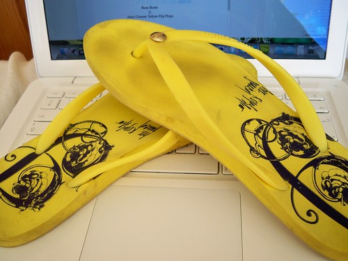 Juicy Couture Yellow Flip Flops