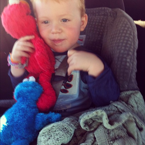 Elmo + Cookie Monster + Blankie = Happy Cooper by kimberly.kalil