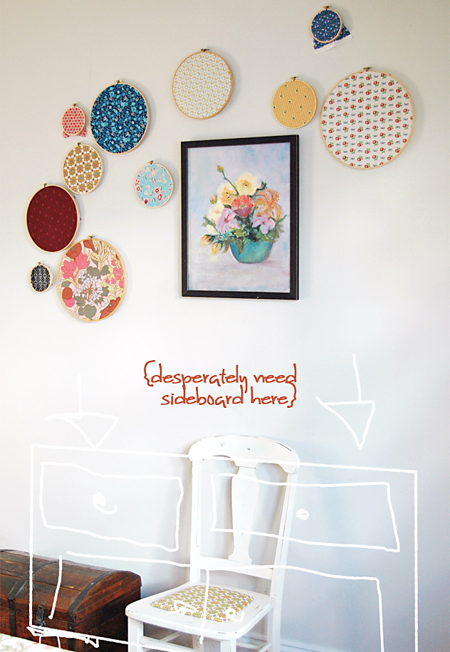 Fabric Hoop Arrangement {with painting}