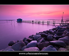 Copenhagen [Denmark] - Sunrise Near Amager Beach Park (UrbanMescalero) Tags: morning pink house water sunrise copenhagen denmark rocks niceshot jetty