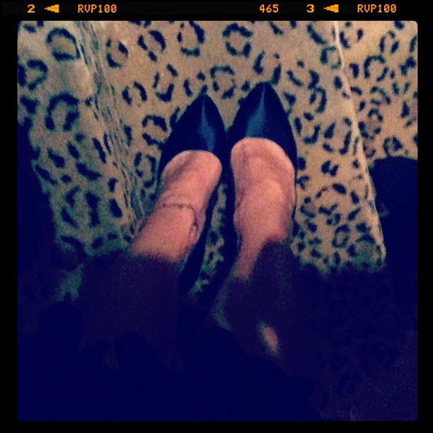 Navy satin Ferragami pumps on leopard carpet. #InstaShoe bachelorette party murder mystery dinner with the ladies