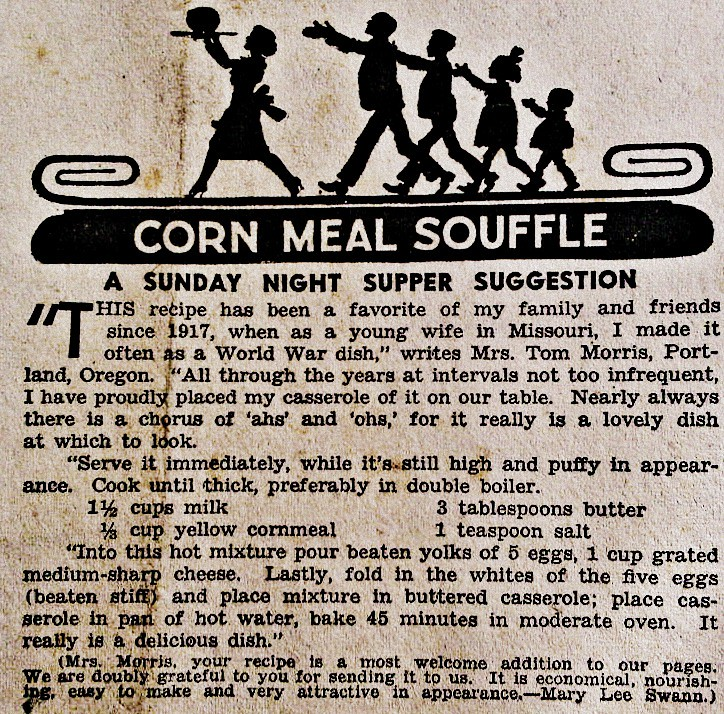 Corn Meal Souffle 1942