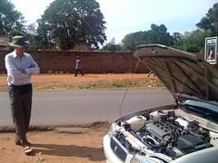 Broken down taxi