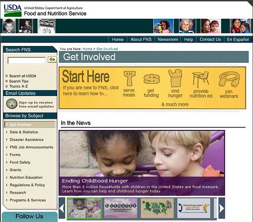 "Visiting USDA's new ""Get Involved"" web page is a great first step for those who want to partner with us to end hunger and obesity. Here's a quick screen shot of how easy the page is to navigate."