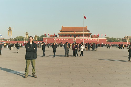 Andy hangin' tough at Tiananmen Square