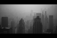 (eflon) Tags: city nyc bw ny newyork monochrome skyline buildings haze cityscape manhattan hazy topoftherock bldgs