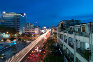 Traffic on Monivong Bvld. at Blue Hour