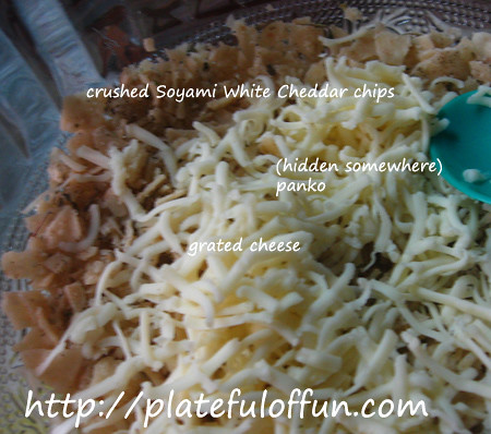coating: crushed Soyami white cheddar cheese, grated cheese, panko and Italian seasoning