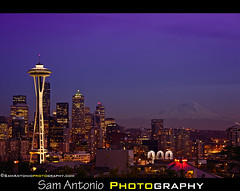 Sleepless and Stuck in Seattle (Sam Antonio Photography) Tags: seattle blue usa mountain night buildings washington cityscape dusk queenanne starbucks mountrainier spaceneedle kerrypark washingtonstate mtrainier seattleskyline seattlewa usatravel seattlelandmark duskphotography photolocation seattlecityscape chasejarvis washingtonlandscape homeofstarbucks seattlep