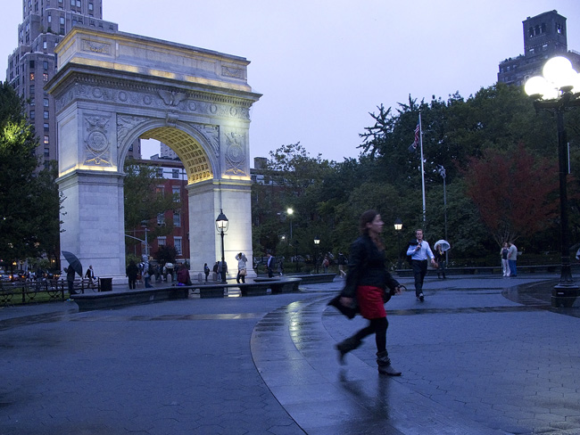 Rain, Washington Square Park