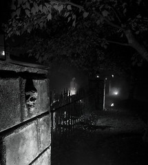 haunted graveyard (Larry H*) Tags: bw halloween monochrome graveyard dark scary creepy horror haunting macabre halloweengraveyard