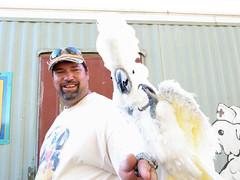 Joe and Sivia saying goodbye (Kai Bey) Tags: arizona bird parrot oasis cockatoo 2011 umbrulla sivia oasissanctuary