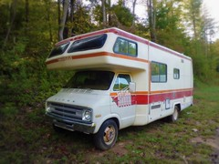 77 Dodge Sportsman Motorhome (Dave* Seven One) Tags: camping mountains classic nature beauty truck vintage fence rust cobra country rusty barbedwire dodge van 1970s camper motorhome sportsman cclass classc