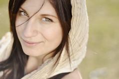 Agata smirks (Sara Zambo) Tags: portrait woman smile face female 50mm model nikon soft dof naturallight greeneyes brunette d90