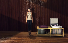 Going Out Tonight (SkylerBeck) Tags: lounge vinyl secondlife recordplayer goingout woodenwalls