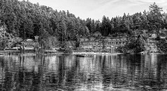 Poets Cove (B&W) (K D Photos) Tags: autumn bw docks cove resort gulfislands spa hdr refelction penderisland poetscove