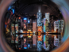 Hong Kong in a bottle (briyen) Tags: christmas reflection skyline night lights bottle neon hong kong