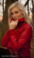 Modern Red Riding Hood (v.maxi) Tags: red portrait woman rot girl face d50 nice nikon pretty blueeyes great lovely blondehair magyar leatherjacket piros szke lny n