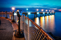 Viewing the Blue (Sky Noir) Tags: ocean travel bridge blue sunset sea usa seascape tower beach water night reflections binocular island photography bay virginia us twilight coin unitedstates cloudy scope gull south unitedstatesofamerica optical tunnel binoculars telescope thimble va hour viewer 13 telescopes chesapeake afterdark shoal operated hamptonroads viewers bridgetunnel tidewater cbbt viewfinders skynoir bybilldickinsonskynoircom