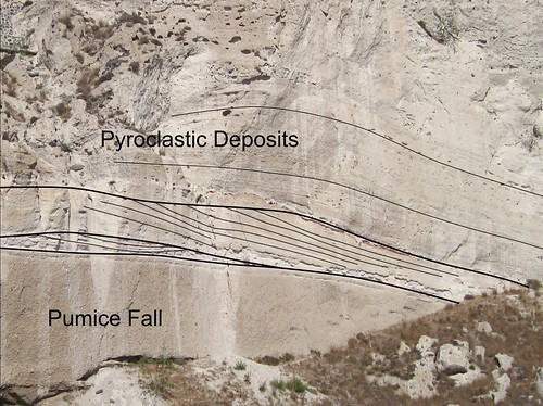 Close up of the dune crossbedding in th Minoan deposits on Santorini.
