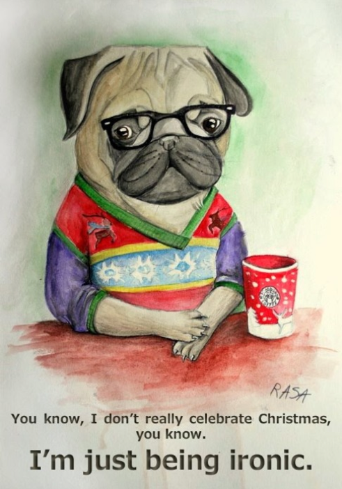 hipster pug, ironic pug, art, painting of a pug, dogs in glasses, ironic art, christmas pug, Screen shot 2011-07-03 at 4.49.17 PM