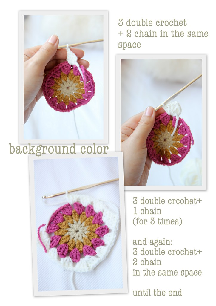 Crochet tutorial: sunburst {in a square} #4