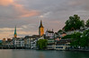 Last Light in Zurich - [EXPLORED] (andreaskoeberl) Tags: city longexposure light sun architecture switzerland nikon day cloudy dusk zurich limmat ndfilter 1685 d7000 nikon1685 nikond7000 andreaskoeberl