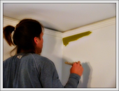 mikey putting the FIRST bit of color in our house!!