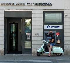 Bank Stop (shlomo2000) Tags: street italy vespa sony bank streetlife scooter moto roller vicenza banca veneto nex5