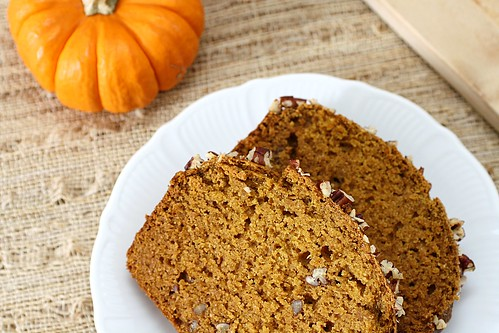 pumpkin bread slices on plate
