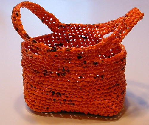 Free Crochet Patterns Plarn Bags : Orange Plarn Trick or Treat Bag My Recycled Bags.com
