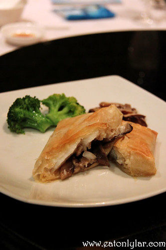 Baked fillet of sea perch with wild mushrooms wrapped with crispy filo, Lai Ching Yuen