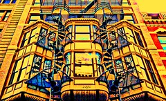Stairs For Every Window (Red9898 - Ann Marie Oates-) Tags: city windows color building stairs refelections firescapes