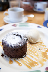 Warm Chocolate Cake w/ Vanilla Bean Ice Cream, Restaurant Lulu, San Francisco