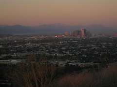 Downtown LA & Smoke at Sunset (Kelson) Tags: california park sunset mountains skyline losangeles downtown hills sangabrielmountains kennethhahnstaterecreationarea hahnpark