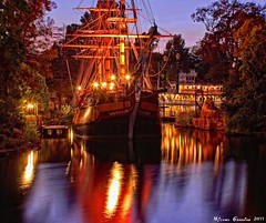 Make Ready For Sail... (Ring of Fire Hot Sauce 1) Tags: night disneyland columbia riverboat hdr sailingship marktwain riversofamerica photomatix canont1i
