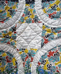 Vintage Block and Ring Quilt (amyehodge) Tags: vintage circle square quilt handmade ring multicolored antiqueshop handquilted friendshipquilt blockandring