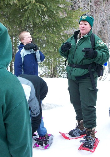 U.S. Forest Service fisheries biologist Ruth D'Amico speaks to Seward Elementary School students on a field trip to the Daves Creek Stream Restoration site on the Seward Ranger District. (Photo courtesy of USDA employee)
