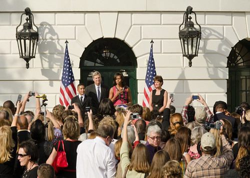 From left: Alex Roman, Walsh Elementary School, Chicago, Illinois, Agriculture Secretary Tom Vilsack, First Lady Michelle Obama and Becky Bounds, Lamar County Schools, Mississippi. Agriculture Secretary Tom Vilsack and First Lady Michelle Obama hosted a reception on the South Lawn of the White House in Washington, DC, Monday October 17, 2011 to honor the over 1200 winners in the HealthierUS Schools Challenge that met the First Lady's goal to double the number of participants in the HealthierUS School Challenge in a year.